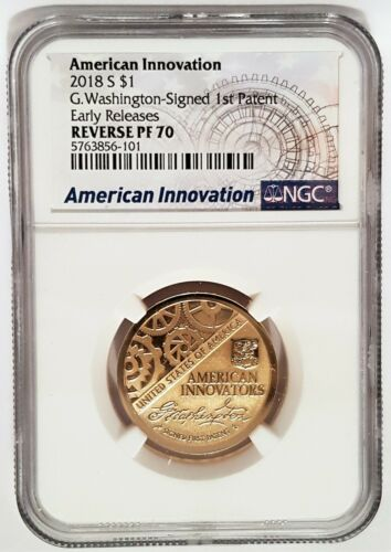 2018 S REVERSE PROOF American Innovation G. Washington Signed $1 NGC PROOF PF70