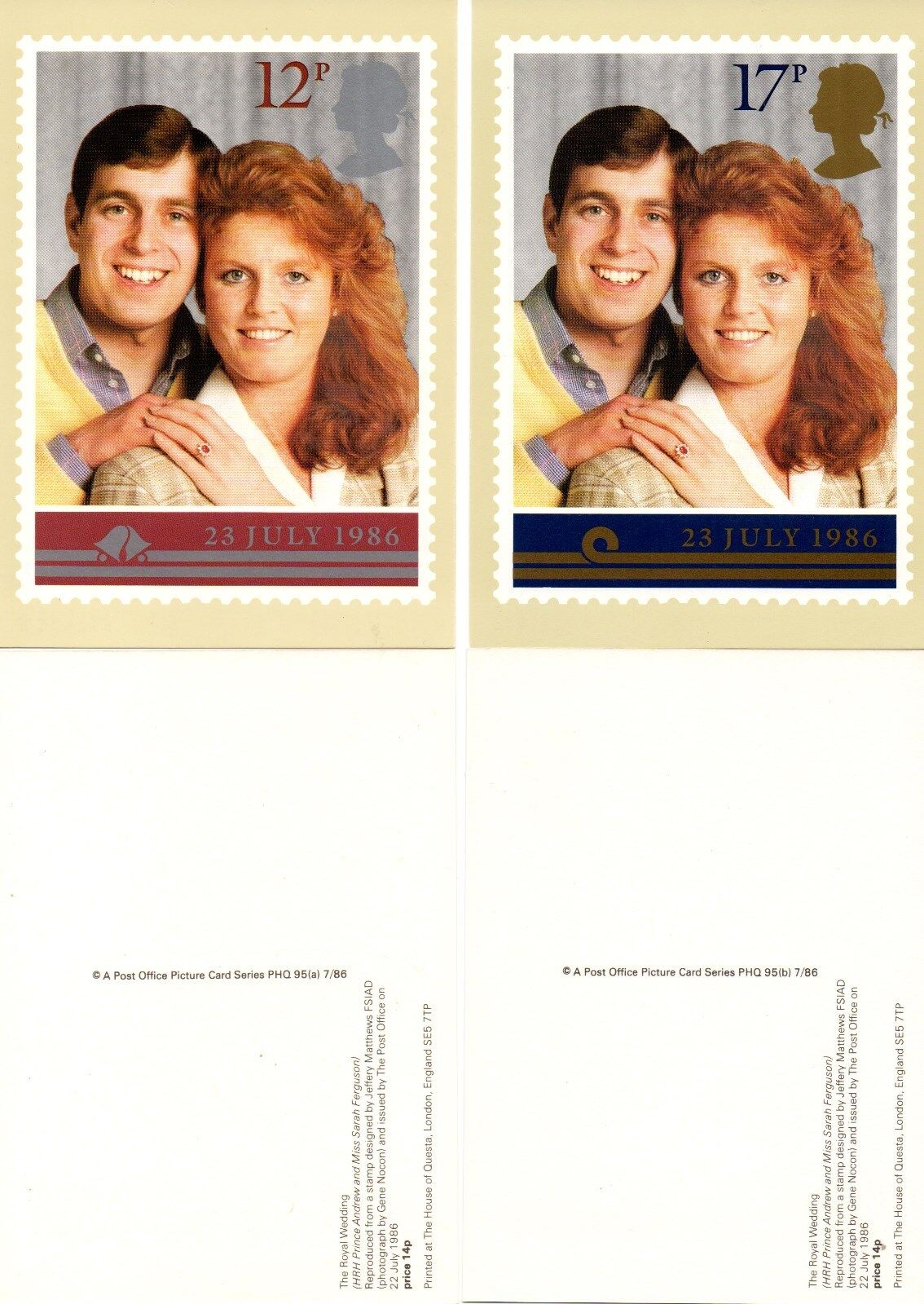 GB - 1986 Royal Wedding PHQ set un-used postcards