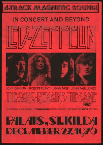 Led Zeppelin-1976 THE SONG REMAINS THE SAME Rare Australian Handbill (Flyer)