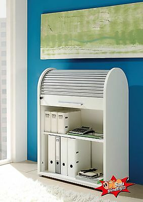 Rolloschrank, weiß, Rollladenschrank, Aktenschrank, Büroschrank, abschließbar