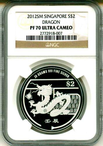 2012 SM Singapore S$2 Lunar Year Of The Dragon NGC PF70 UC Mint Box COA OGP