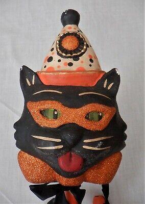 VTG GREG GUEDEL / BETHANY LOWE HALLOWEEN PARADE STICK BLACK CAT BELLS FOLK ART