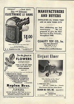 1948 PAPER AD Kahn Electric Toy Juke Box Bank Meldon Bros Toy Police Pistol