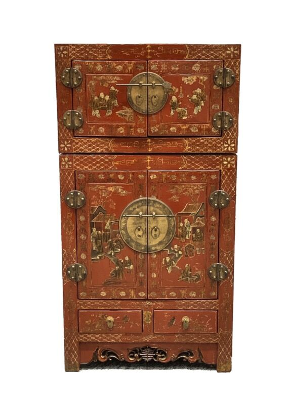 Chinese Qing Dynasty 19th Century Red Lacquered Cabinet ~ Kang Compound