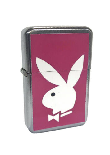 Pink Playboy Bunny Flip Top Chrome Oil Lighter Wind Resistan