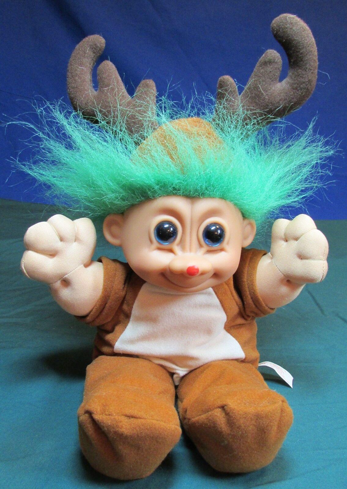 Russ - Troll Kidz Green Haired Reindeer - Very Good Cond 12 Inch - $9.99