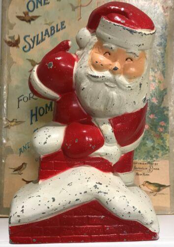 Antique Vintage Retro Metal Santa Bank South Bend Indiana Christmas