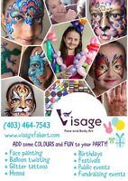 Face painting, balloon twisting and glitter tattoos for events