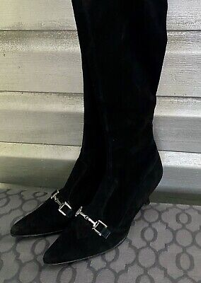GUCCI Black Vintage Suede Pull On Pointed Toe Knee High Boots