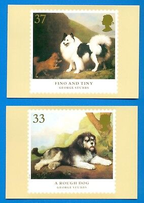 DOGS.SET OF 5 PHQ POSTCARDS WITH COMMEMORATIVE STAMPS