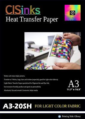 20 Sheets A3 Light Fabric Inkjet Heat Transfer Paper 12x16.5 T-shirt Shirt