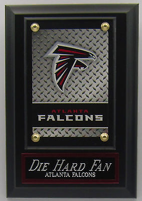 DIE HARD FAN ATLANTA FALCONS LOGO CARD PLAQUE FOR YOUR MAN CAVE WALL DECOR