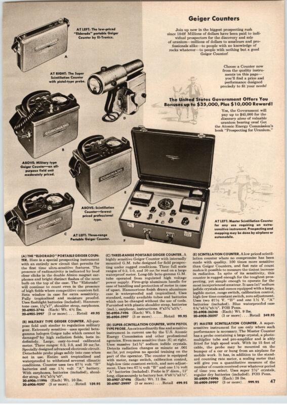 1956 PAPER AD Coronado Geiger Counter Master Scintillation