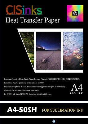 "50 Sheets A4 (8.27"" x 11.7"") Sublimation Ink Heat Transfer Paper Inkjet Printer"