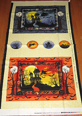 HAUNTED HOUSES Place Mats & Ornaments 100% cotton fabric Panel HALLOWEEN - Halloween Place Mats