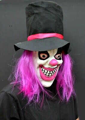 Killer Clown Mask (Halloween Womens Clown Mask Costume Party Mask with Hair Killer Top Hat)