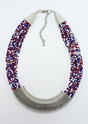 Blue Seed Bead - New Patriotic Red White Blue USA Seed Bead Necklace #PA1