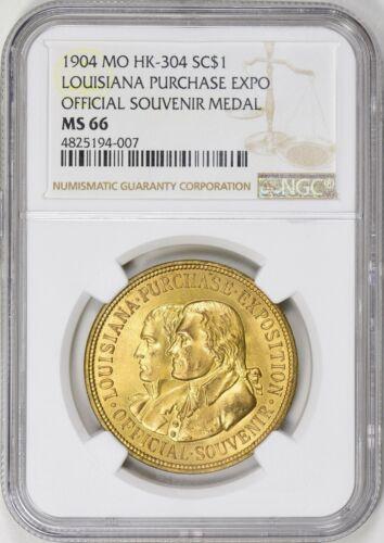 1904 HK-304 Louisiana Purchase Exposition Official Souvenir Medal NGC MS66