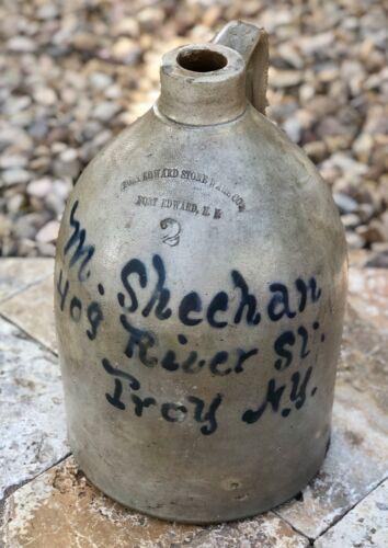 Antique Fort Edward Stoneware Co M. Sheehan Troy, NY Large Advertising 2 Gal Jug
