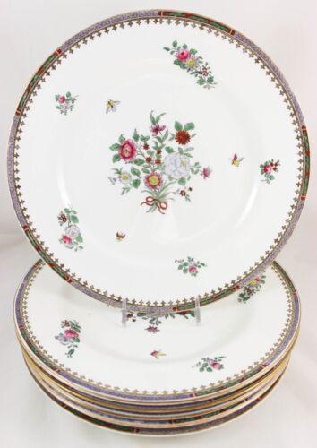 SET 6 DINNER PLATES COPELANDS SPODE CHINA C1703 LOWESTOFT FLOWERS BUTTERFLIES