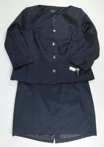 NWT $220 Emily Womens Plus Size 14W Jacket and Skirt Suit In Navy