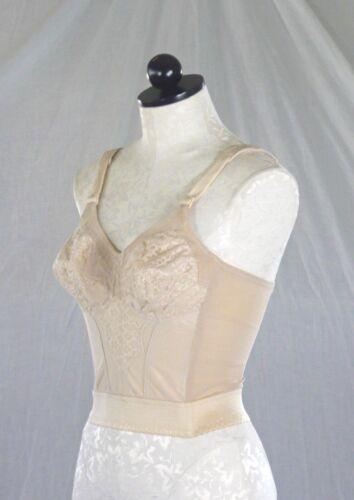 GELMART vintage 60s beige LONGLINE BRA ultimate foundation lace + elastic 34B