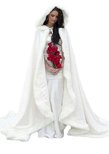 Outdoor Winter Wedding Cloak Cape Faux Fur White Ivory Hooded Long & Free Muff
