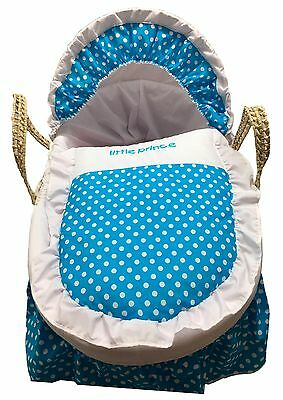 Mother Nature Inspired Baby Moses Basket Bedding/Dressing - Blue Polka Dots for sale  Shipping to South Africa
