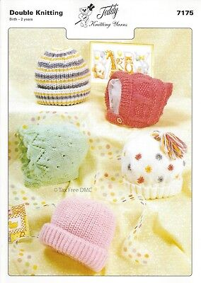 VAT Free Hand Knitting PATTERN ONLY To Make DK Baby Hats Bonnets Teddy 7175 New Free Knitting Pattern Baby Hats