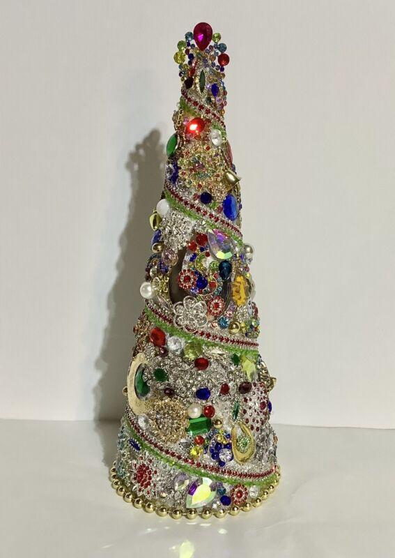 Multi Color Rhinestones / Jewelry / Jeweled Christmas Holiday Centerpiece Tree
