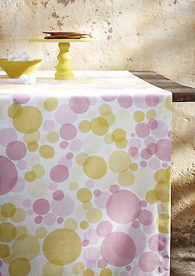 Mitteldecke 85x85 Tischläufer 50x140 Antoni gelb rosa Punkte Polka Dots Proflax ()