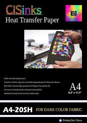 20 Sheets A4 Dark Fabric Inkjet Heat Transfer Paper 8.27 X 11.7