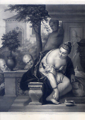 Susanna im Bade-Erotik - n. P. Verone-große Lithographie b. Hanfstaengl 1835-52