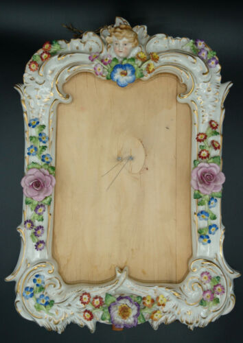 Meissen Sitzendorf  Dresden Hand Painted Germany Porcelain Easel Mirror Frame
