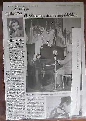 Obituary  Boston Globe  8 13 2014  Lauren Bacall Sultry Star Of Stage   Screen
