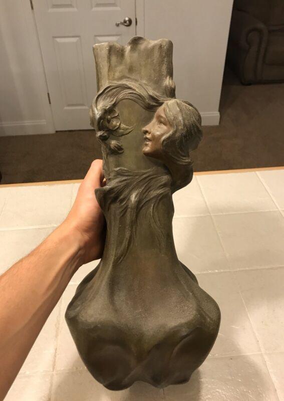 Large Antique FRANCESCO FLORA Art Nouveau Woman w/ Flowing Hair Sculptural Vase