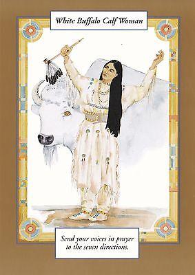 GREETING CARD spiritual art WHITE BUFFALO CALF WOMAN  Saints & Sages