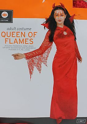 Halloween Women's Queen of Flames Red Costume Size Medium 8-10 NWT