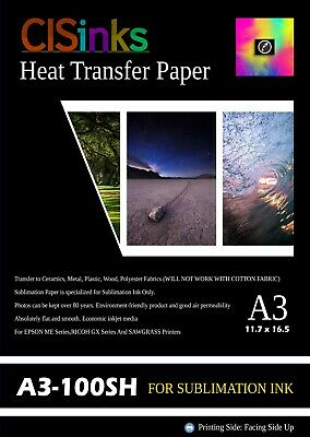 100 Sheets Sublimation Transfer Paper Suitable A3 1216.5 Heat Press