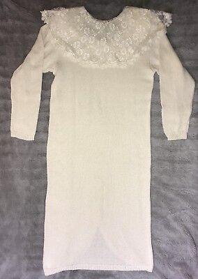 Scott McClintock Handloomed Vtg Ivory Lace Knit Wedding Dress Sz Medium EUC (Knit Wedding Dress)