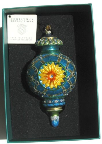 Reed Barton Blown Glass Christmas Reflections JEWELED REFLECTOR Ornament BLUE !!