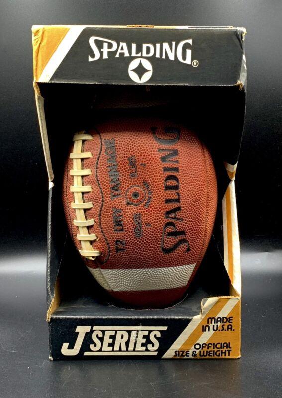 Vintage SPALDING J5-V INTERCOLLEGIATE T2 DRY TANNAGE J SERIES FOOTBALL IN BOX!