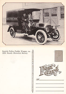SEATTLE POLICE PADDY WAGON c 1999 REPRODUCTION POSTCARD