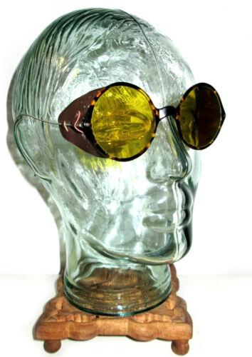 Antique Willson Amber Tortoise Shell Sunglasses Goggles Vtg Steampunk Glasses W