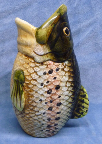 11 Inch Majolica Fish Vase Antique Vintage