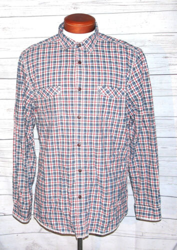 G.H. Bass Men's Red Blue Plaid Casual Button Front Shirt Size Large