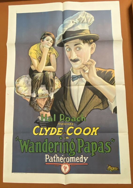 WANDERING PAPAS Vintage 1926 CLYDE COOK Silent Film MOVIE POSTER Laurel & Hardy