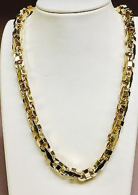 18k Solid Yellow Gold Mariner Anchor Bullet Chain Necklace 10.5 MM 400 grams 34""