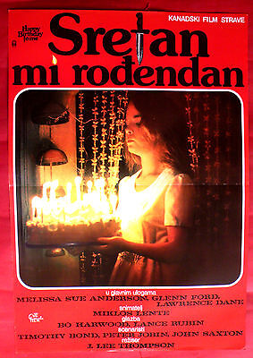HAPPY BIRTHDAY TO ME 1981 MELISSA SUE ANDERSON GLENN FORD RARE EXYU MOVIE POSTER