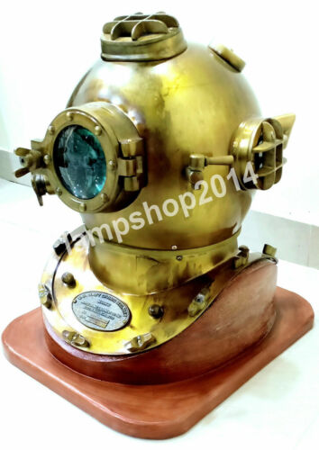 Diving Antique Brass Deep Sea US Navy Mark V Marine Scuba Divers Helmet